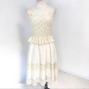 70s Vintage S/M Boho Floral Lace Midi Dress Cream